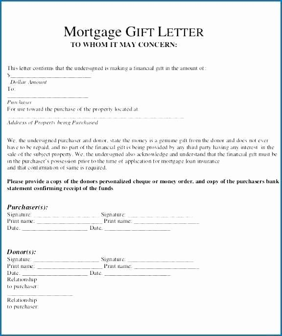 Gift Letter Mortgage Template Awesome 9 10 T Letter for Mortgage Sample