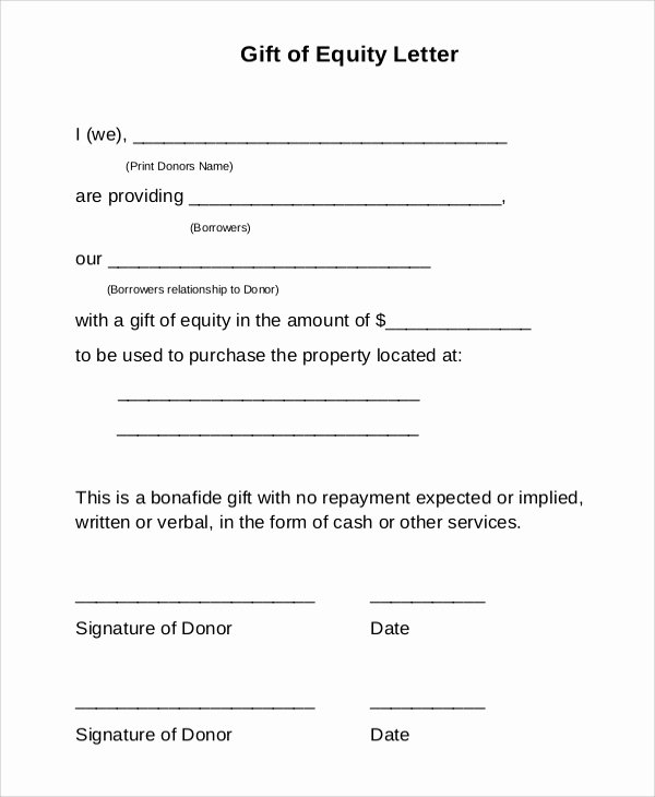 Gift Letter Mortgage Template Fresh 13 Sample Gift Letters Pdf Word