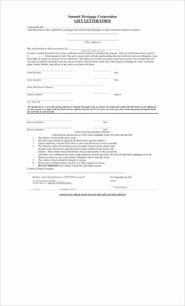 Gift Letter Mortgage Template Lovely 9 10 T Letter for Mortgage Sample