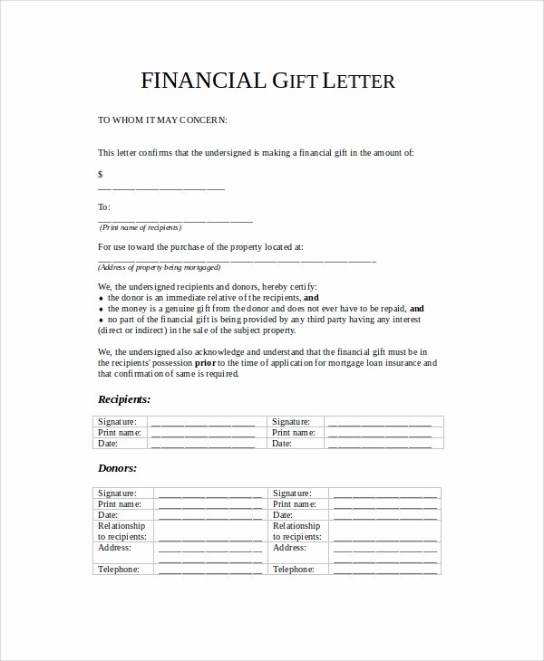 Gift Letter Template Word Beautiful 13 Sample Gift Letters Pdf Word