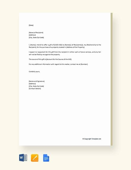Gift Letter Template Word New 13 Sample Gift Letters Pdf Word