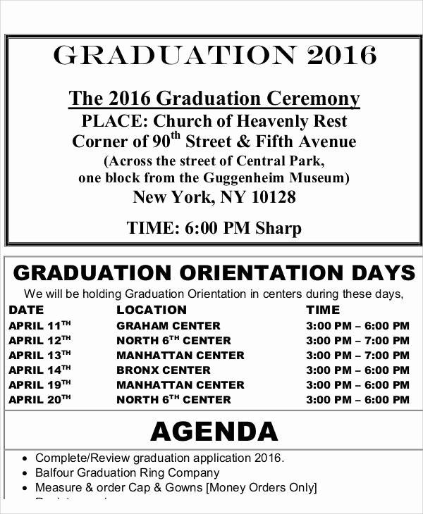 Graduation Ceremony Program Template Awesome 43 Free Agenda Templates
