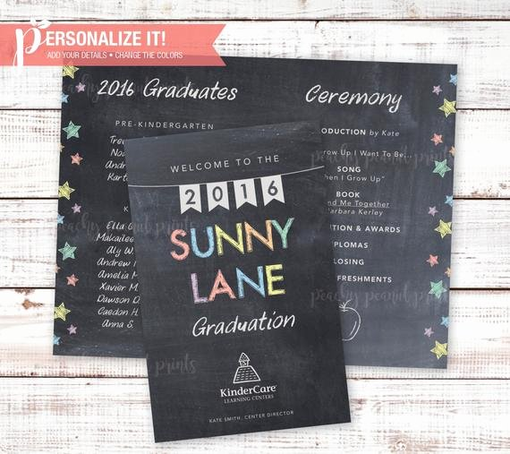 Graduation Ceremony Program Template Awesome Graduation Ceremony Program Chalkboard Pre K or Kindergarten