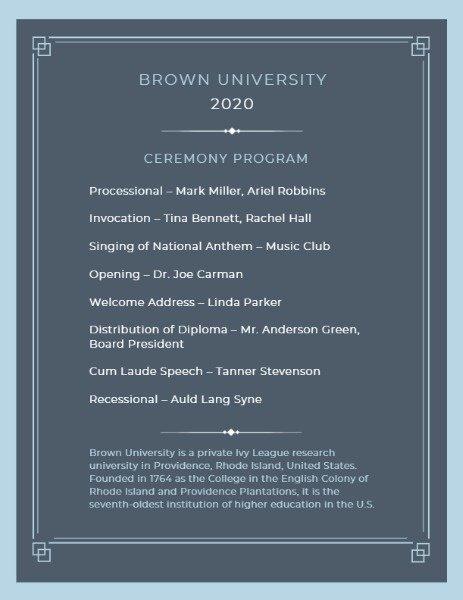 Graduation Ceremony Program Template Fresh Line Graduation Ceremony Program Template