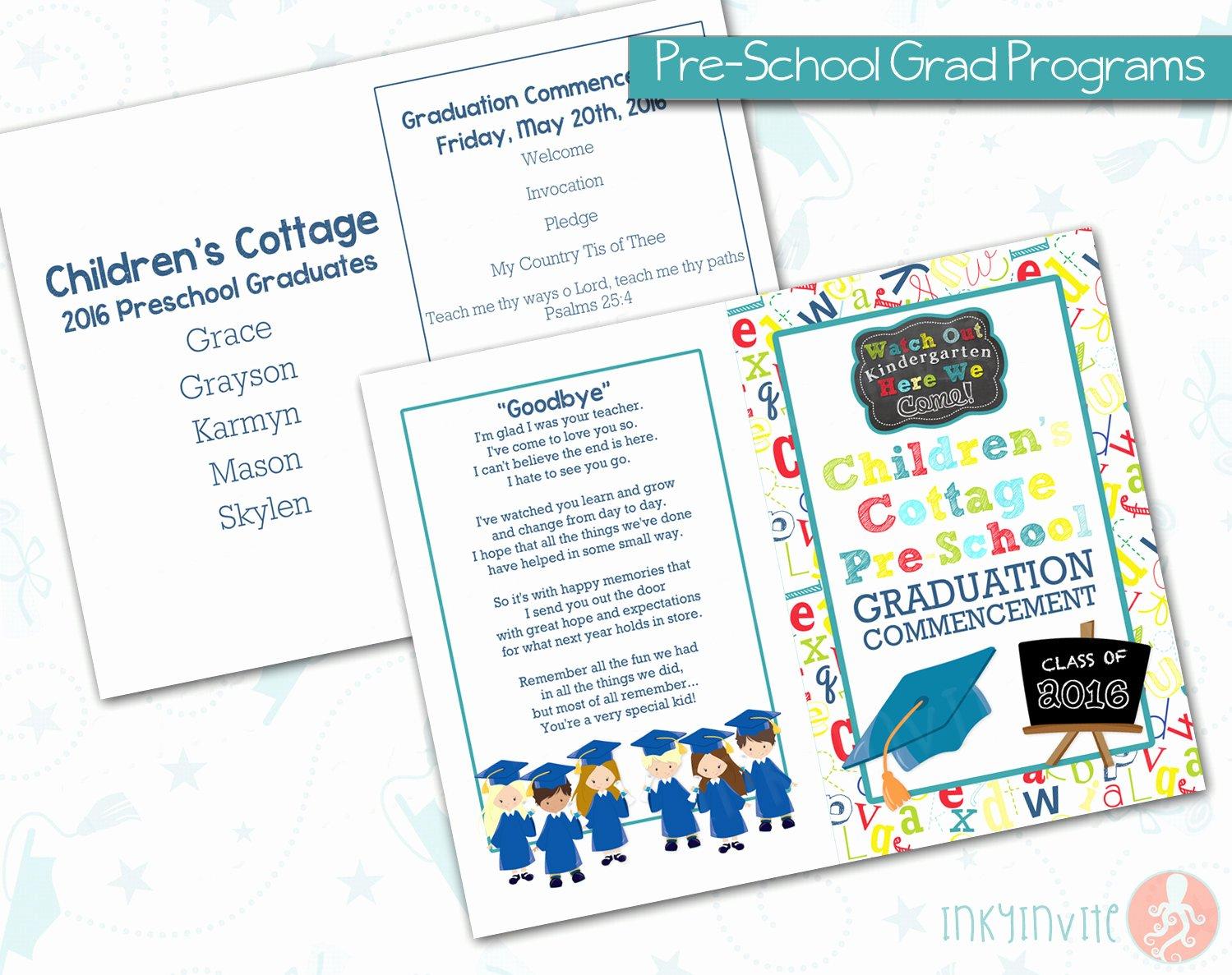 Graduation Ceremony Program Template Lovely Pre School Graduation Programs Pre K Class Graduation