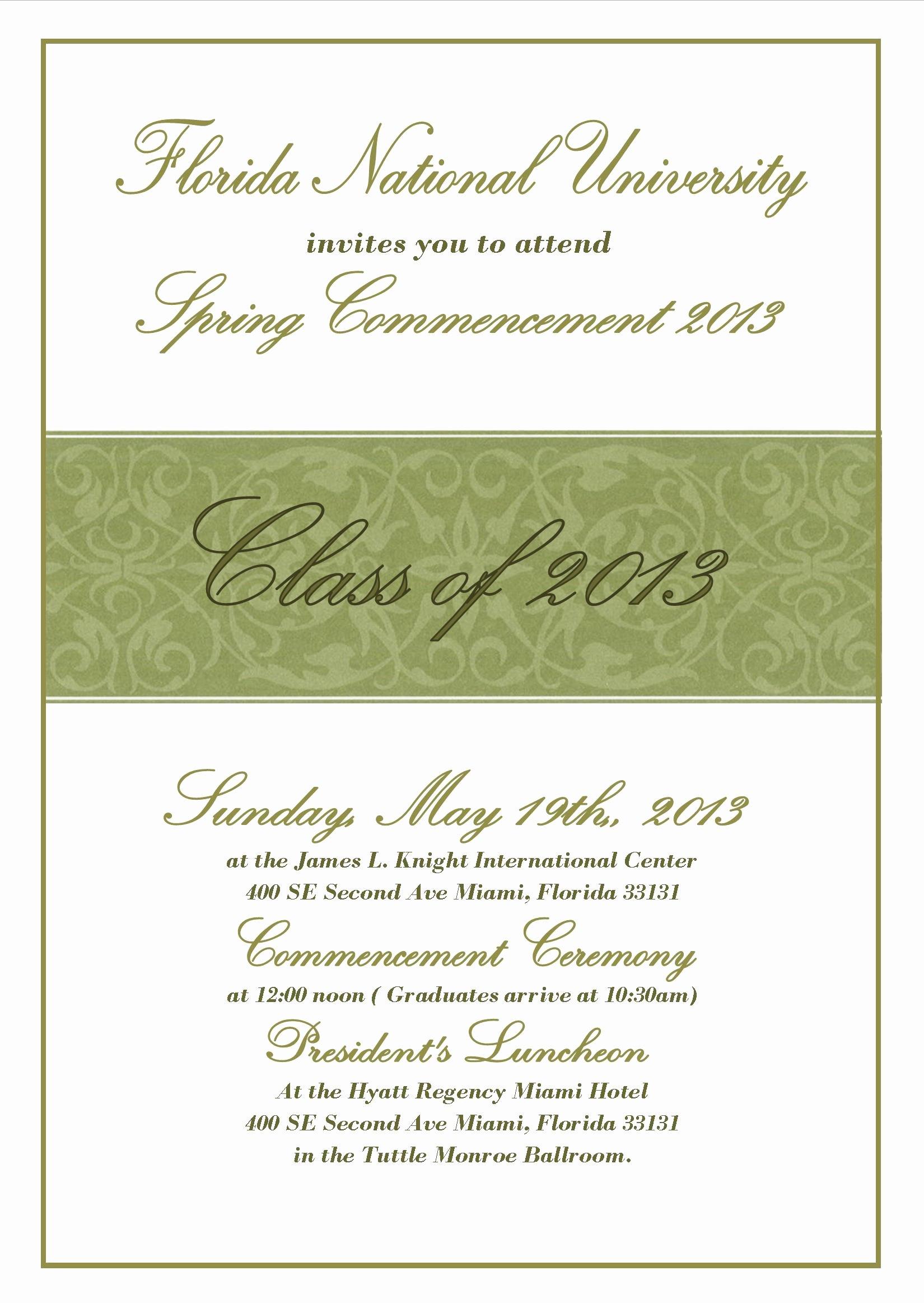 Graduation Ceremony Program Template New Mencement Ceremony Invitation