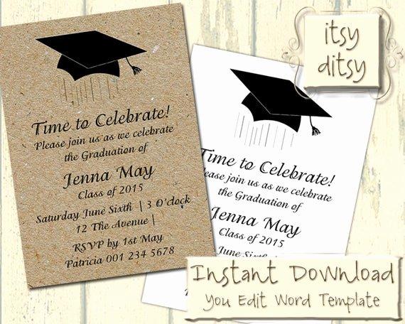 Graduation Invitation Templates Microsoft Word New Graduation Invitation Template with A Mortarboard Design