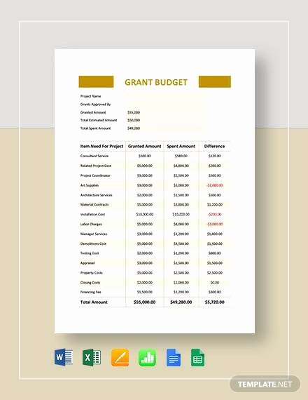 Grant Proposal Budget Template Fresh Sample Grant Bud 9 Documents In Pdf Word