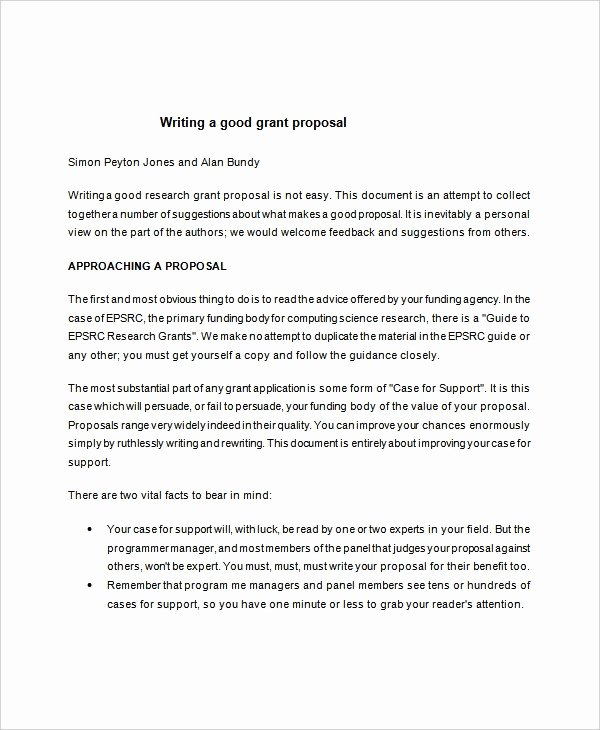 Grant Proposal Template Word Elegant 10 Writing Templates Free Sample Example format
