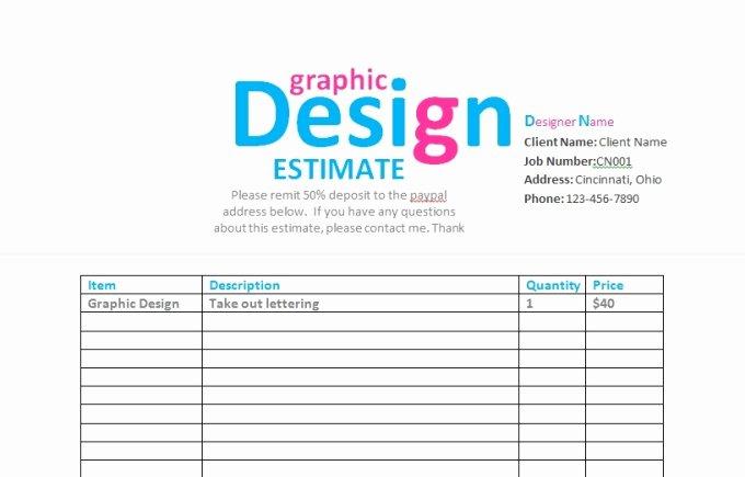 Graphic Design Estimate Template Fresh Send You A Graphic Design Contract Invoice Estima
