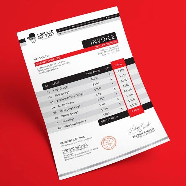 Graphic Design Estimate Template New top 10 Best Free Professional Invoice Template Designs In