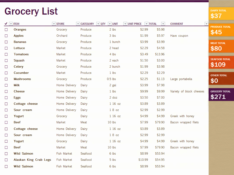 Grocery List Template Excel Beautiful 7 Shopping List Templates