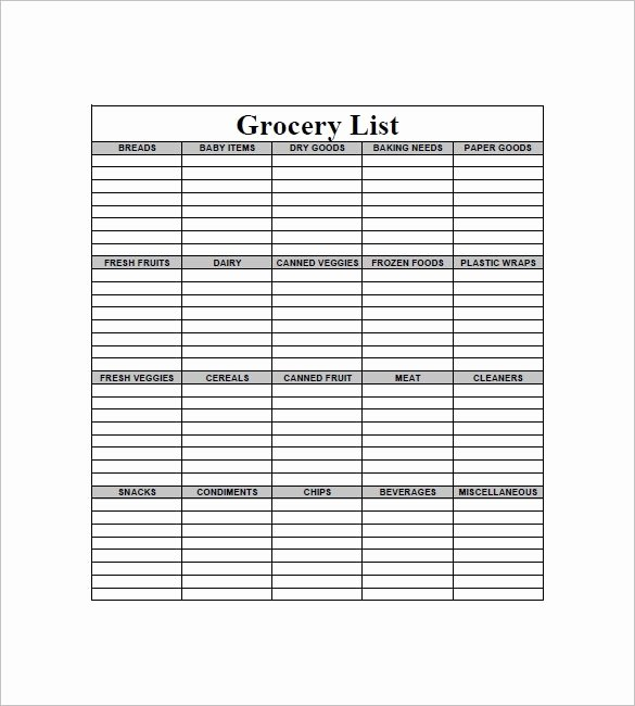Grocery List Template Excel Beautiful Blank Grocery List Pdf