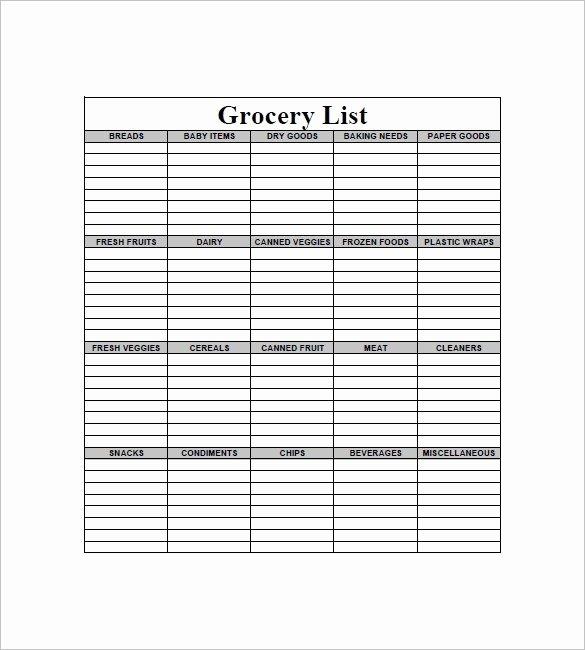 Grocery List Template Word Beautiful Blank Grocery List Pdf