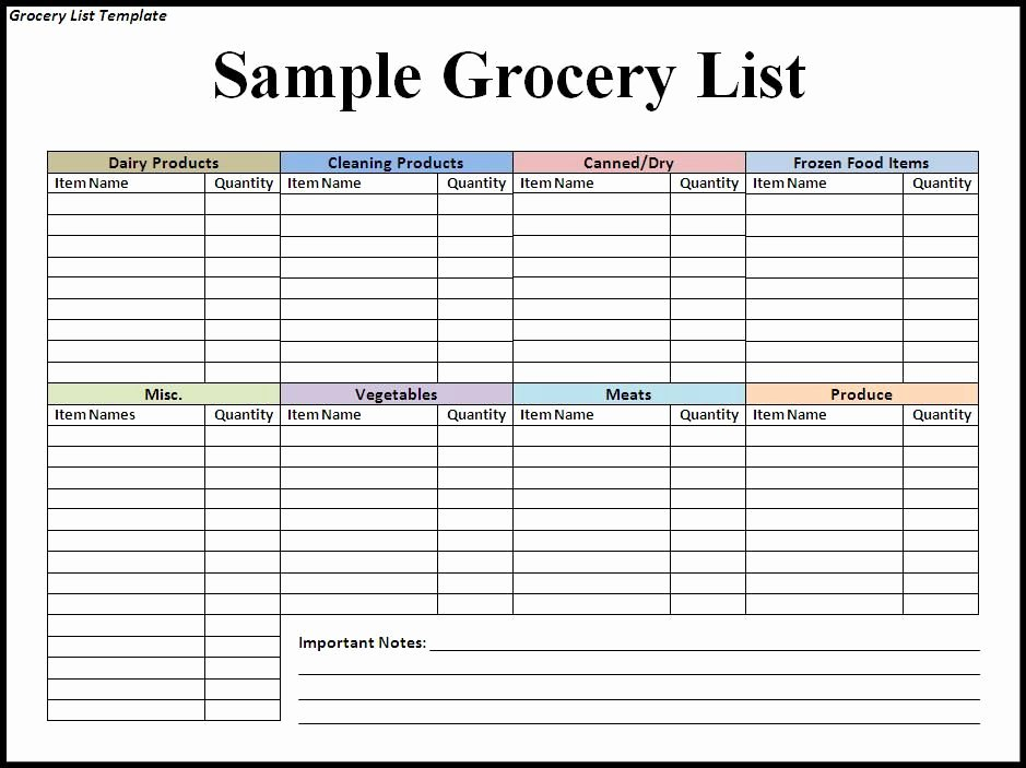 Grocery List Template Word Lovely Grocery List Template