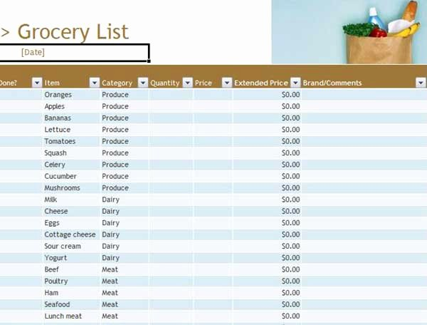 Grocery List Template Word New Grocery List Templates Microsoft Word Templates