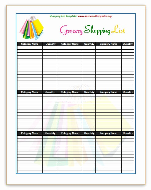 Grocery List Template Word New Shopping List Template