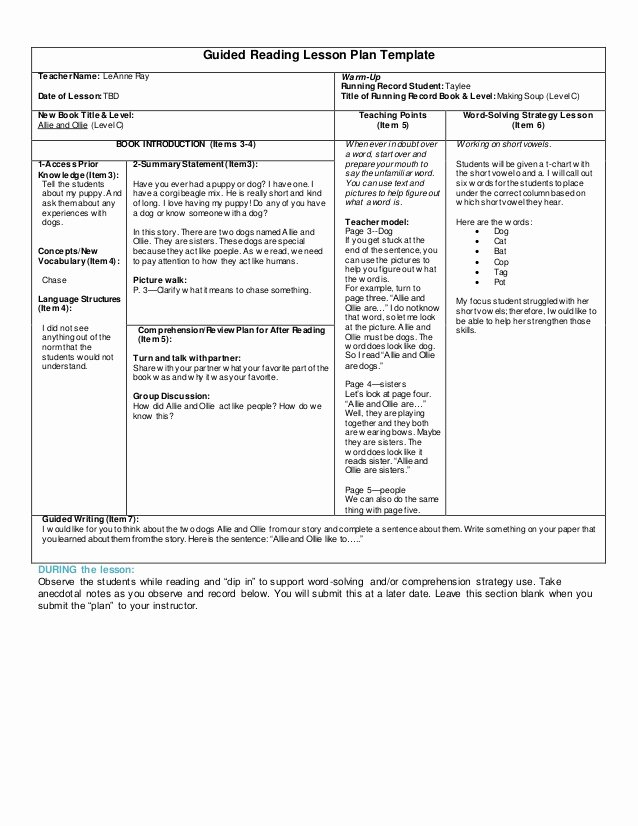 Guided Reading Lesson Plan Template Awesome Guided Reading Lesson Plan