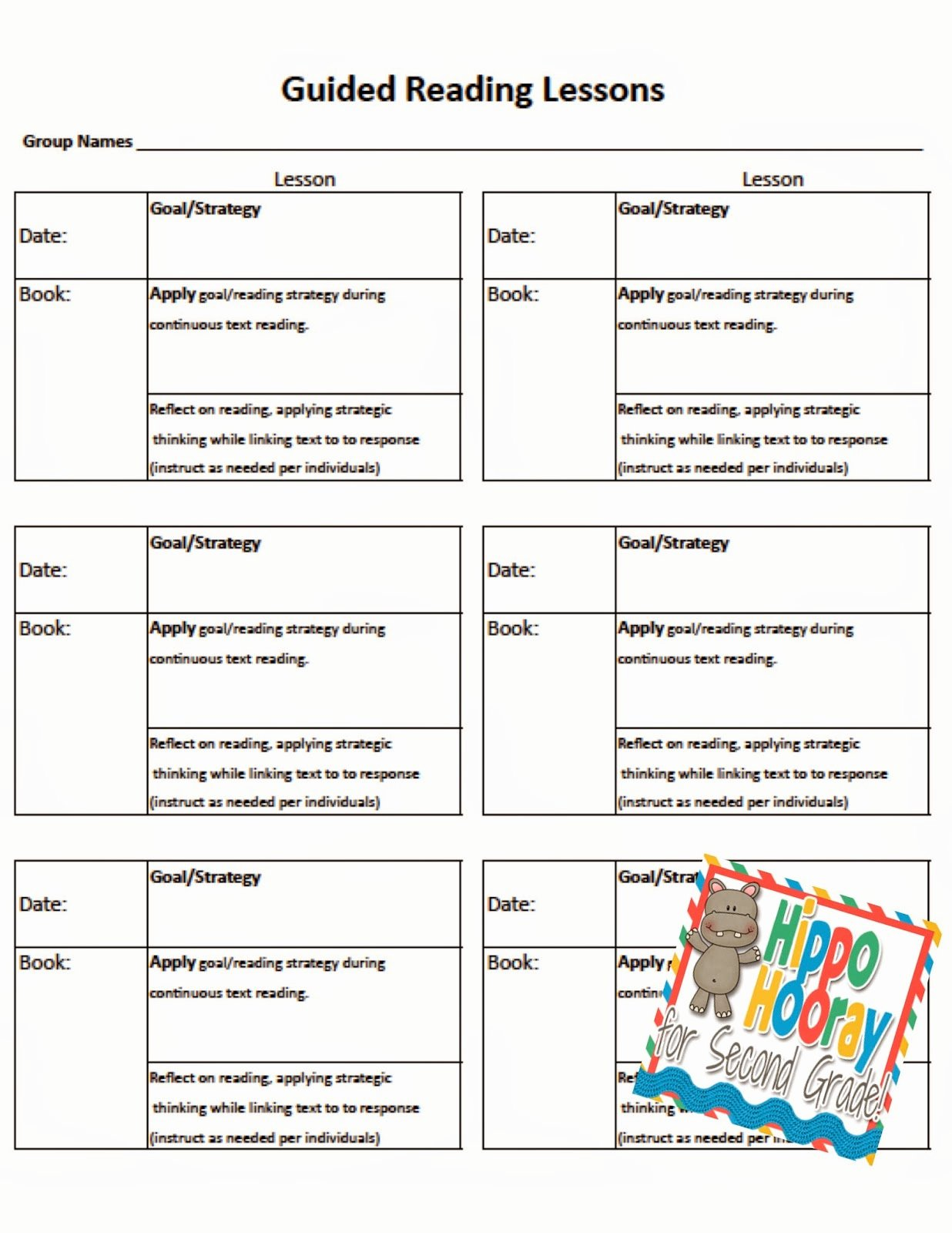 Guided Reading Lesson Plan Template Awesome Guided Reading Lesson Planning and Note Taking Hippo