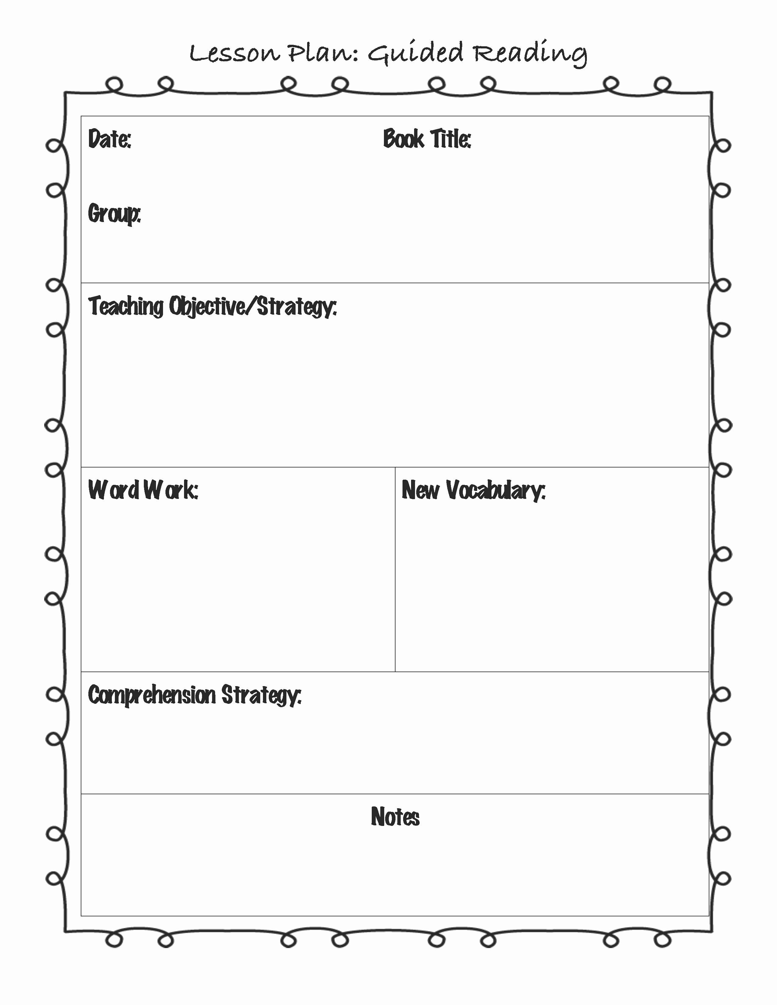 Guided Reading Lesson Plan Template Fresh Guided Reading Lesson Plan Template