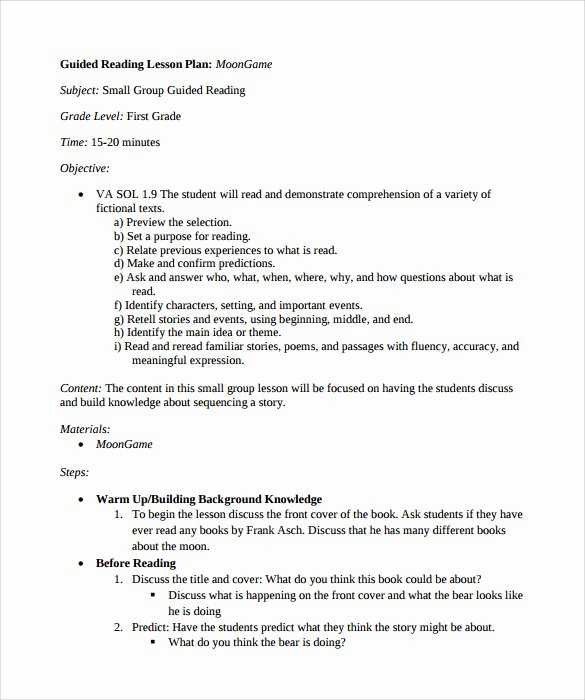 Guided Reading Lesson Plan Template Lovely Sample Guided Reading Lesson Plan 9 Documents In Pdf Word