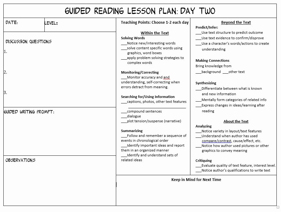 Guided Reading Lesson Plan Template Luxury Make Guided Reading Manageable