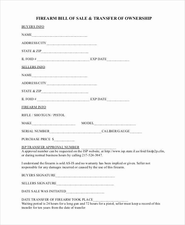 Gun Bill Of Sale Template Luxury Sample Firearm Bill Of Sale 6 Documents In Pdf
