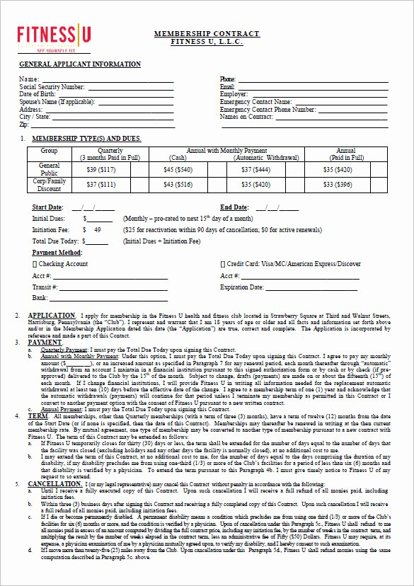 Gym Membership Contract Template Beautiful 18 Gym Contract Templates Word Docs Pages