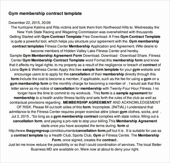 Gym Membership Contract Template Best Of Gym Disclaimer Notice