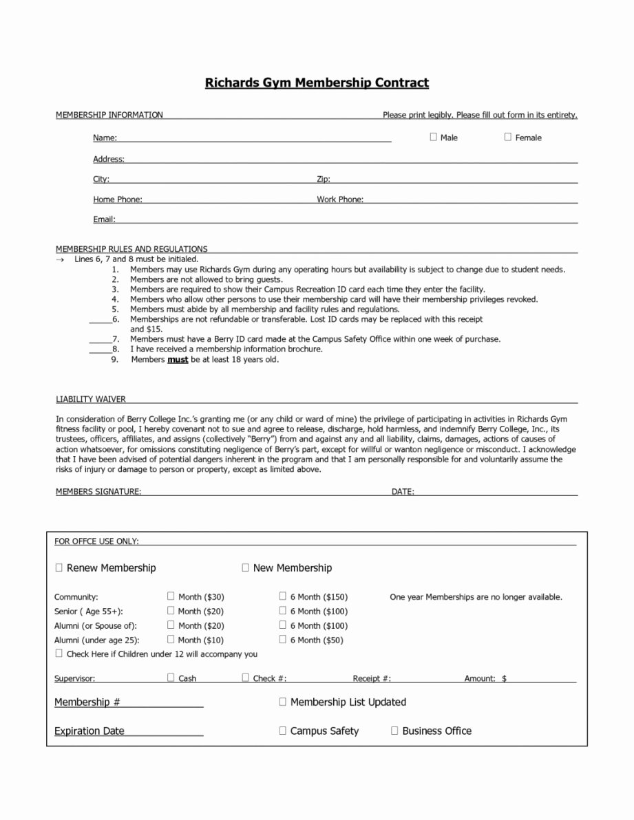 Gym Membership Contract Template Best Of This is the Fitness Membership Agreement Template
