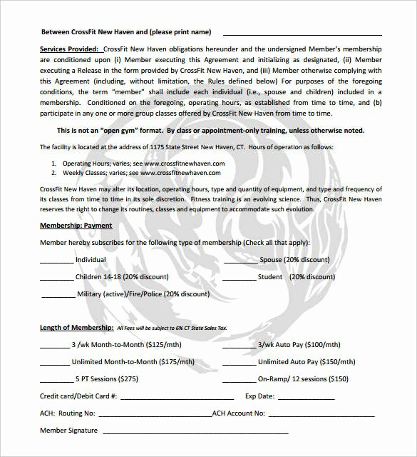 Gym Membership Contract Template Fresh Free 12 Gym Membership Receipt Samples & Templates In Pdf