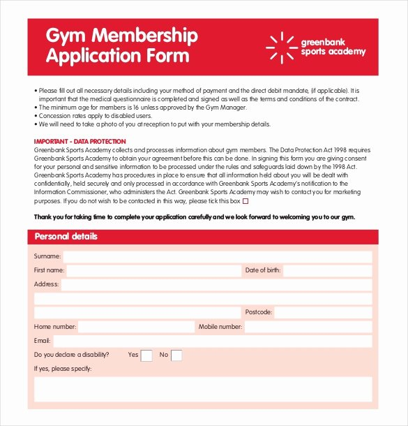 Gym Membership Contract Template Luxury Gym Registration form Pdf