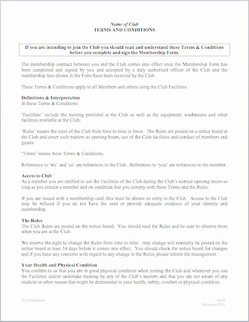 Gym Membership Contract Template New Car Club bylaws Template Templates Resume Examples