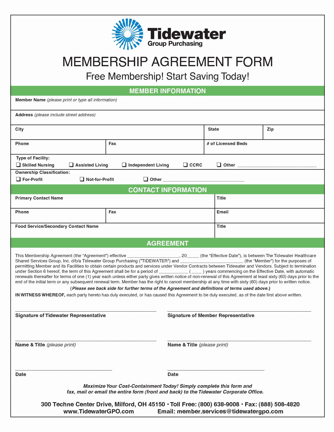 Gym Membership Contract Template New Membership Agreement