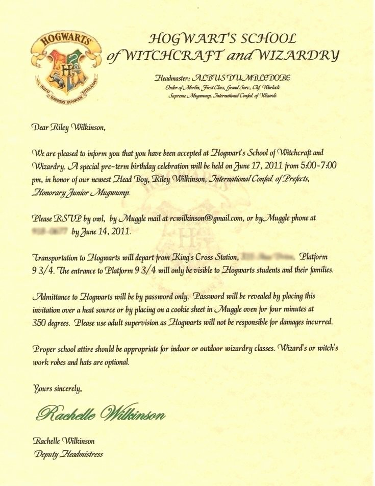 9 harry potter acceptance letter printable