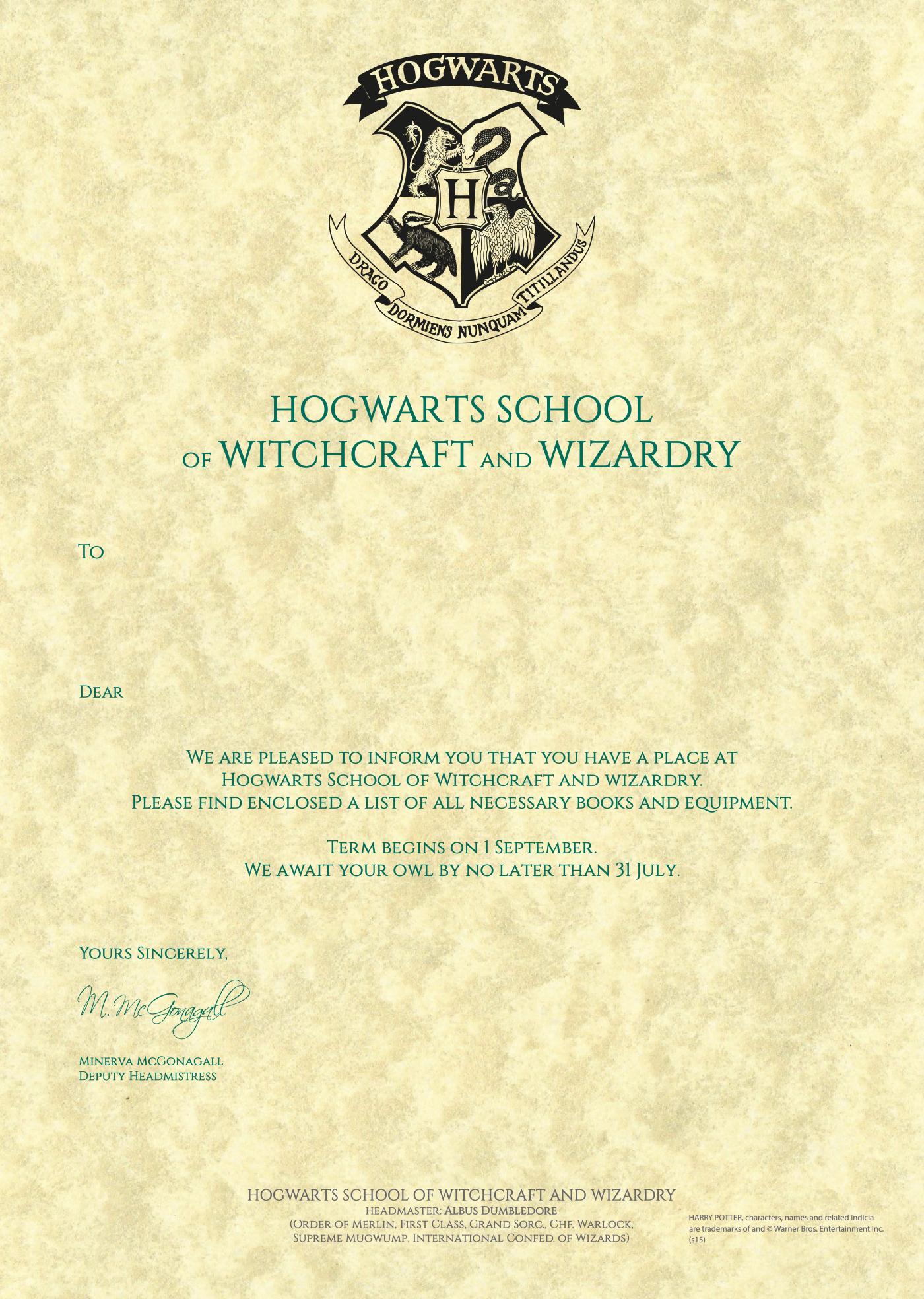 Harry Potter Acceptance Letter Template Elegant Hogwarts Acceptance Letter