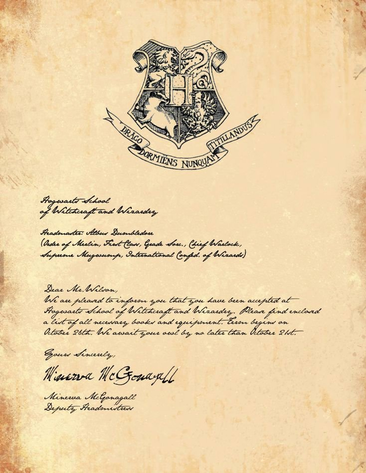 Harry Potter Acceptance Letter Template Lovely Harry Potter Acceptance Letter Template