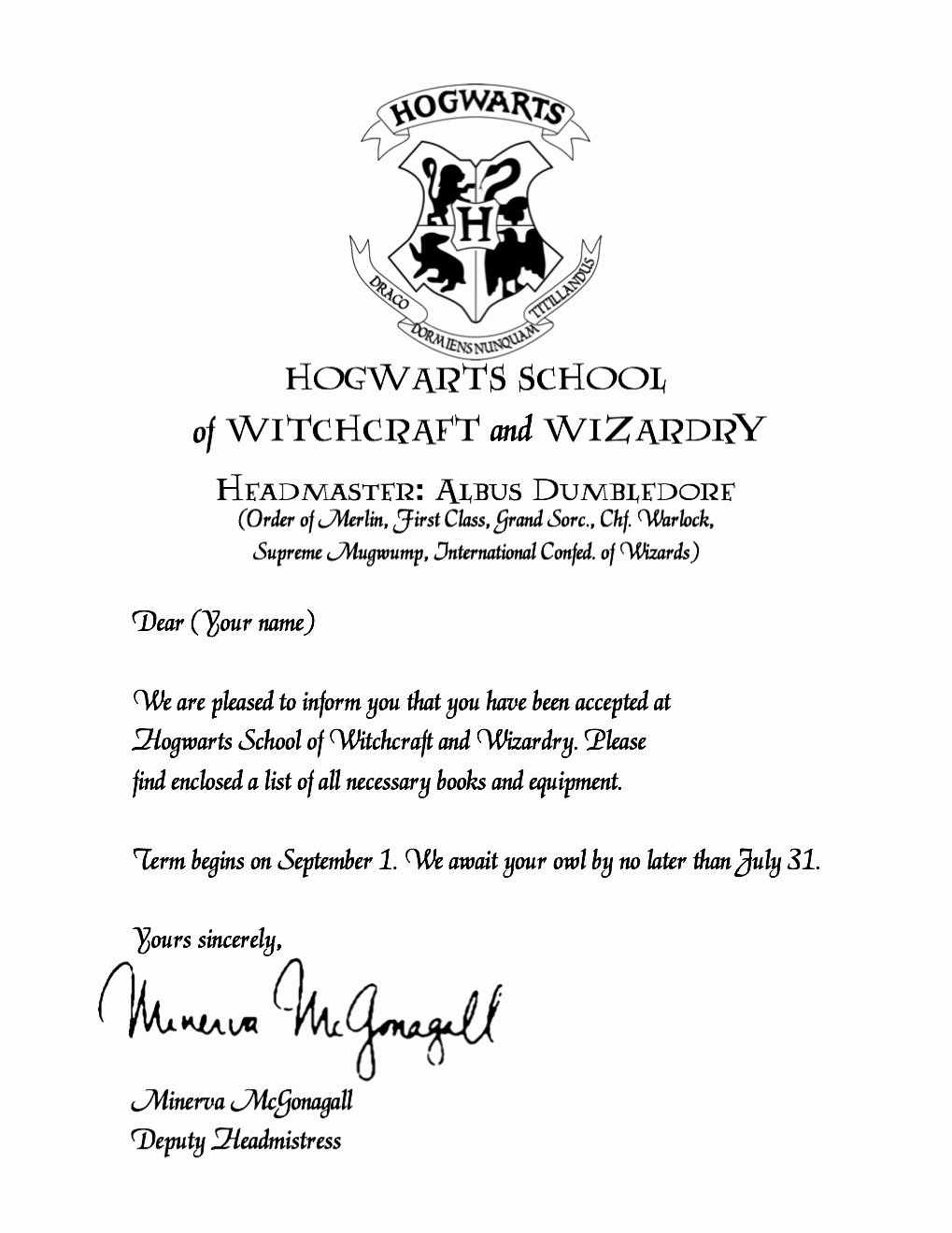Harry Potter Acceptance Letter Template Luxury Printable Hogwarts Acceptance Letter Free Download the