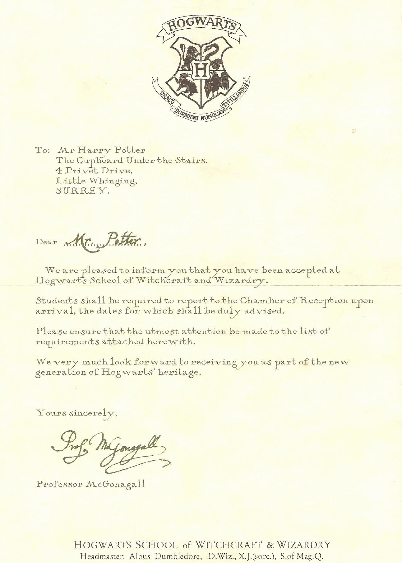 Harry Potter Acceptance Letter Template Unique Pin by Hanaa Mohamed On Harry Potter In 2019