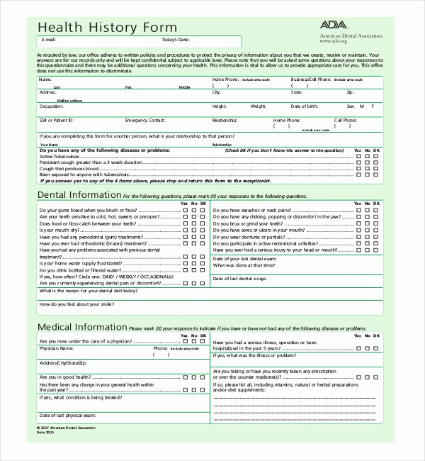 Health History form Template Best Of 22 Of Surgery for oral Health History form Template