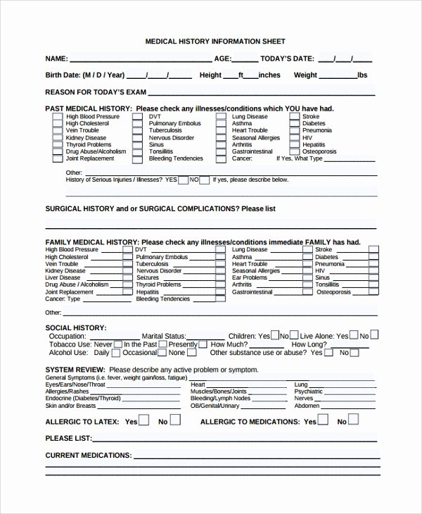 Health History form Template Elegant Sample Medical History Template 9 Free Documents