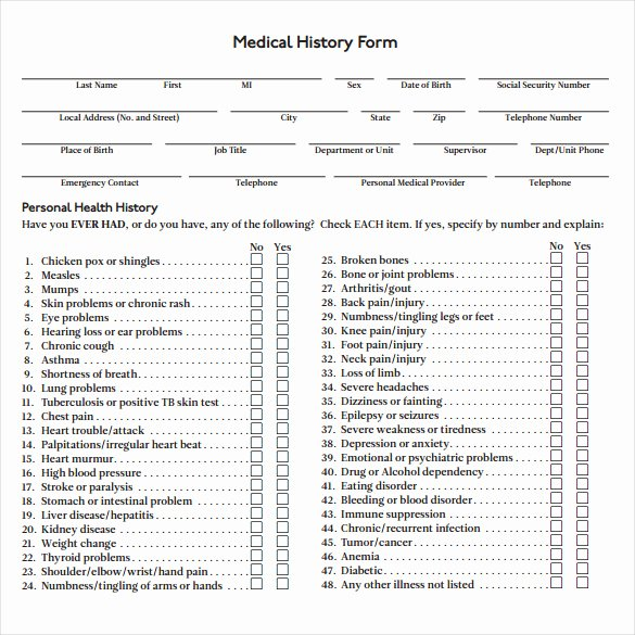 Health History form Template Fresh Medical History form 7 Download Free Documents In Pdf Word
