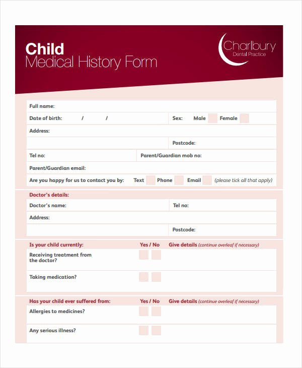 Health History form Template Fresh Medical History form 9 Free Pdf Documents Download