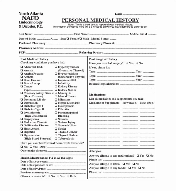 Health History form Template Lovely Free 21 Sample Medical History forms