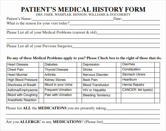 Health History form Template Luxury 14 Medical History forms Free Sample Example format