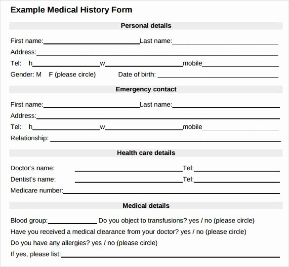 Health History form Template New Medical History form 7 Download Free Documents In Pdf Word