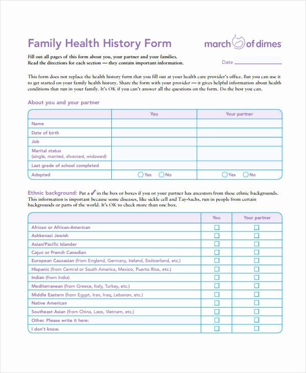 Health History form Templates Lovely Medical History form 9 Free Pdf Documents Download