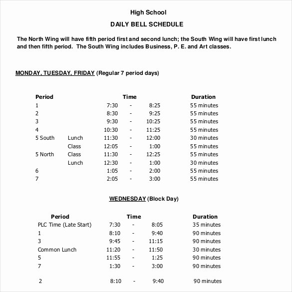 High School Schedule Template Beautiful Daily Schedule Template 39 Free Word Excel Pdf