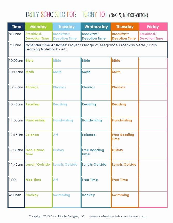 High School Schedule Template Beautiful Kindergarten Daily Schedule Confessions Of A Homeschooler