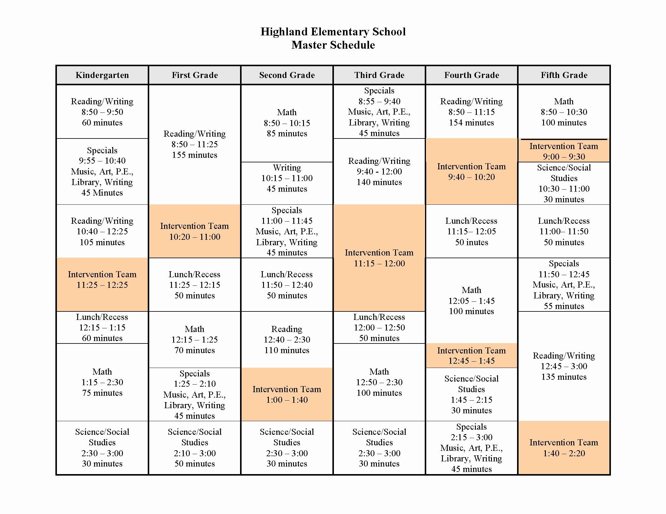 High School Schedule Template Beautiful School Master Junglekey Image 50
